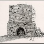 A sketch of a historic lime kiln (artist: John Johnson)